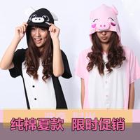 free shipping Summer paragraph 100% cotton cartoon pig one piece sleepwear short-sleeve lovers lounge