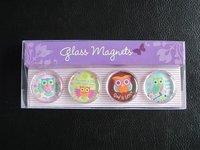 Free shipping , HIGH QUALITY ! Hot-sale Cartoon Refrigerator/Fridge Magnet Glass Material 4pcs/PVC box, 10sets/lot