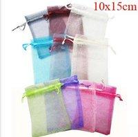 Hot! 500 pcs/lot 10X15CM  Silk Organza drawstring earrins ring neckalce Jewelry Wedding Gift Pouch Bags packaging bag BX030