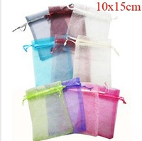 Hot! 500 pcs/lot 10X15CM  Silk Organza drawstring earrins ring neckalce Jewelry Wedding Gift Pouch Bags packaging bag BX030