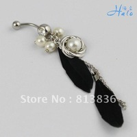 Free Shipping 6pcs/lot Pearl Rhinestone Lady Navel Piercing navel Belly Button Rings body Puncture Jewelry BJ00410