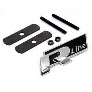VW R-Line Rline Front Grille Badge Grill Emblem-Red Black