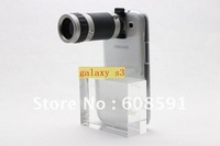 8X Optical Zoom Telescope Camera Lens with Crystal Case For Samsung galaxy s3 s iii i9300 ,+retail box MOQ:1PCS Free shipping