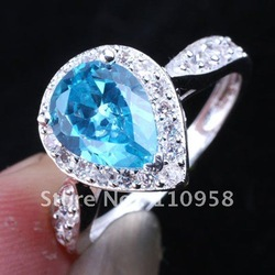 Hot Womens Silver Ring Pear Blue Topaz Yin Size 6 Jv7355 Nice Birthday Gift(China (Mainland))