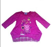 free shipping children clothing girl peppa pig purple long sleeved t shirt TEE