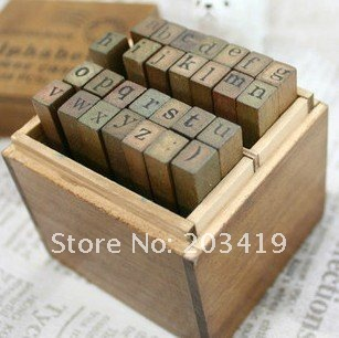 free shipping Wooden vintage block Creative letters Antique Alphabet Stamps upper lower case seal diary carved gift set 28PC/set(China (Mainland))