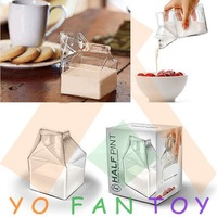Free Shipping Carton Style Creative Creamer Jug Glass Food Safe Drinking Ware Cup Glassware