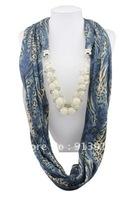 Wholesale fashion handmade tassels lady's Cotton pashmina wrap scarf Acrylic resin beaded pendant necklace shawl scarves jewelry