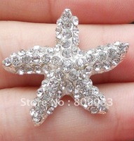 Brilliant Starfish Rhinestone Cluster  For Wedding Cards, Rhinestone Buckle Without Bar---BU093