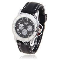 5PCS/Lot Fashion Watches Caiqi Dials Decoration Numerals&Strips Hour Marks Leather Quartz Wrist Watch for Men A380 (Caiqi A380)