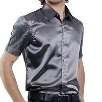 Summer 2012 men's clothing solid color faux silk slim fashion male short-sleeve shirt shiny shirt