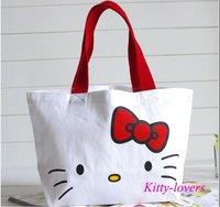 New Hello Kitty Open tote bag women canvas handbag purse lady's shopping bag girl's lunch bag