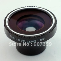 20pcs/lot Fish Eye Lens+Macro Lens 180 degree Wide Angle Digital Camera For iPhone 4 4G 4S with package