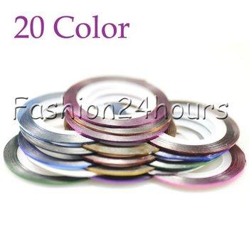 20 Color Rolls Striping Tape Metallic yarn Line Nail Art Decoration Sticker Free Shipping