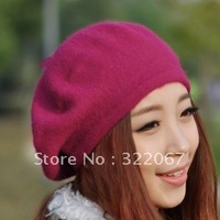 Free shipping fashion  beret hat, women wool  hat,cute ladies' winter hat,20pcs