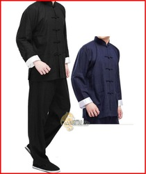 Free Shipping Martial Art / Kung Fu / Tai Chi Tang Suit (Top &amp; Pants) Black / Dark Blue / Beige Size M-XXXL (U012) !!(China (Mainland))