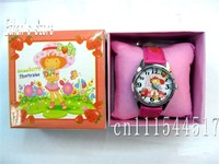 Free Shipping New boys Strawberry Shortcake  cartoon Quartz Wrist Watches  Retail Packaging
