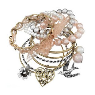 Min.order is $15 (mix order)2013 High-quality multideck simulated pearls bangles,With flower bird heart bangles,Free shipping