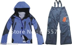 Blue Man 10K Ski SnowBoarding 2in1 Waterproof 3 Layer Jacket +3Layer Pants Gloves Set S M L XL XXL(China (Mainland))