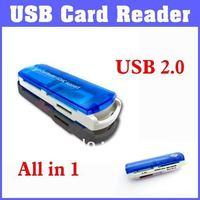 Free Shipping! USB 2.0 Memory Card Reader SDHC Support Card Reader Multiple Formats All in 1 Card USB 2.0 Reader Writer