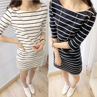 2012 Fashion  College wind striped sleeve in black and white stripes Pack hip CONTRAST COLOR sleeves dress