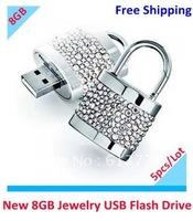 Free shipping Lock jewelry USB Flash Drive 8GB gift usb flash memory 100% Real Capacity