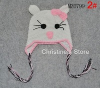 The New Arrival hello kitty handcraft hats fashion Double braids design baby knitted cap 100% Cotton, 10pcs/lot