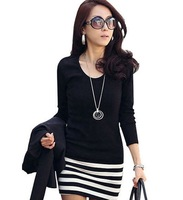 2012 New Fashion Korean Women&#39;s Casual Slim Striped Stitching Cotton Dress Free Shipping
