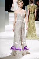 Elegant! 2013 Elie Saab Dress Couture Silver / Light Gray Full Beading 100% Handmade Elie Saab Evening Dresses Gowns