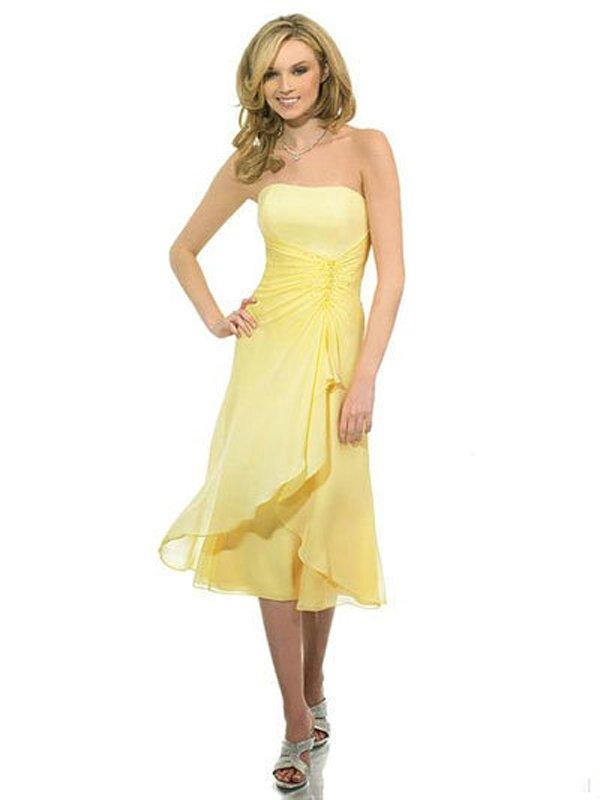 2013 Trend Chiffon Yellow Cheap Custoem Made Short Simple Bridesmaid Dresses