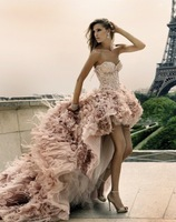 ZH520 Designer Hot sale with feather crystal beaded Zuhair Murad short front long back wedding dress