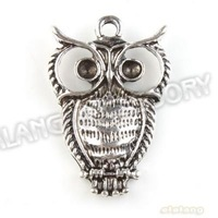 Hot Selling 60pcs/lot Fashion Owl Charms Antique Silver Plated Alloy Pendant Jewelry Findings 26x18x3mm 142978