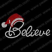 Free Shipping 30pcs/Lot  Bling Christmas Hat Believe Crystal Iron Ons Rhinestone Design Hotfix Transfer Custom Design Available
