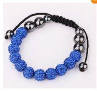 us/uk  blue 2  Wholesale 10MM clay friendship Shamballa Czech crystal bracelet+gift box