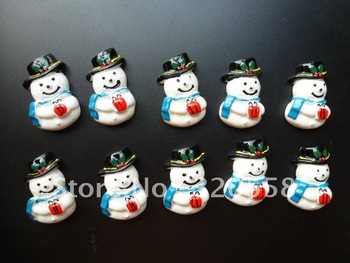 Wholesale Chritmas Snow man Blue FlatBack Resins Scrapbooking Embellishment 50pcs Free Shipping 1.2""
