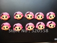 Wholesale La la loopsy girls with black bow FlatBack Resins Scrapbooking Embellishment 50pcs Free Shipping 1.2""