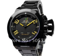 New Fashion Unique Perpetual Calendar Digital LED Display Stainless Steel Mens Sports Military Watch Black WH1008Y-B