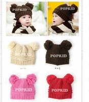 boys girls children knitting winter hat fit 6month - 6yrs baby kids woolen elastic cap 12pcs/lot 4 colors free shipping