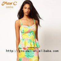Latest  exclusive solid color ladies peplum dress