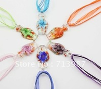 6pcs Wholesale lots colorful Lucency Flower bottle  Europen Fashion lampwork Glass Pendant  Necklaces  Jewelry