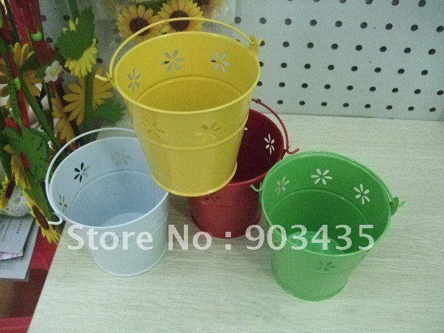 "15 PCS Wedding Favour Metal Bucket/Pail Flower Design Table Gift Box (Large 5"")(China (Mainland))"