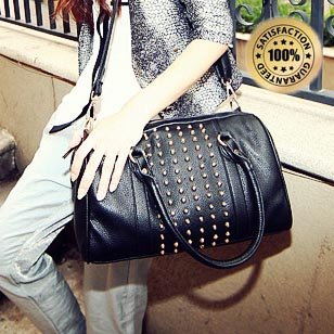 Multi-purpose Rivet Women Handbag/Ideal Size for everyday use/Fully Lined/Well Structured/Free Shipping(China (Mainland))