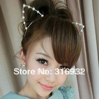 Free shipping new design cute cat ears shaped party Hair hoop, Hair Accessories, pearl or diamond hair band mix shipping