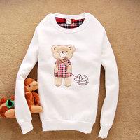 Free shipping! 2012 women's cartoon bear dog o-neck sweatshirt