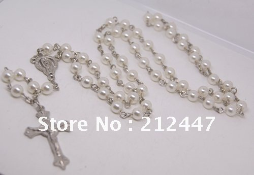 24pcs Catholic Rosary Prayer White Beads Jesus Cross Pendant Necklace(China (Mainland))