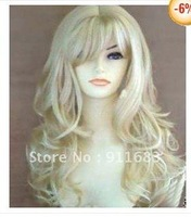 Beautiful long blonde curly made hair wig