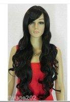 Sexy black long curly women's full hair wig