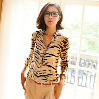 2014 new women's stand collar V-neck loose shirt tiger print long-sleeve women's blouse/tops Free shipping