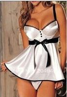 Free shipping Plus 3XL size Fashion Sexy Babydoll Chemise Nightwear Woman nightgown nighty dress ladies sleepwear silver 7023
