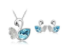 Ювелирный набор Christamas sale White Gold Plated Leaf Austrian Crystal Jewelry Sets Fashion Jewelry 4156 make with swarovski element
